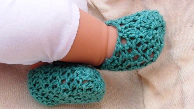 escarpines para bebe a crochet sencillos