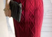 Puntos para faldas largas tejidas a mano a 2 agujas