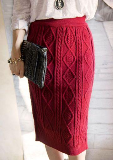 faldas largas tejidas a mano a dos agujas