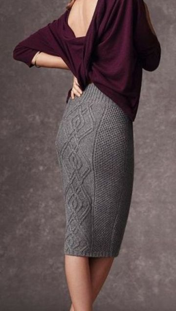 faldas largas tejidas a mano puntos con texturas