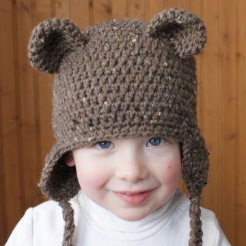 gorro de oso a crochet coletas