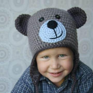 gorro de oso a crochet con rostro