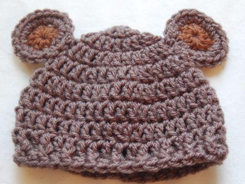 gorro de oso a crochet punto sencillo