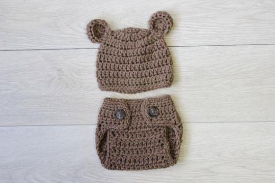 gorro de oso a crochet y pañal