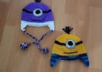 4 coloridos diseños de gorros tejidos de minions para niños