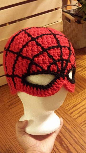 gorros tejidos de spiderman tipo mascara