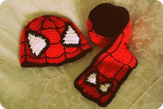 gorros tejidos de spiderman y bufanda
