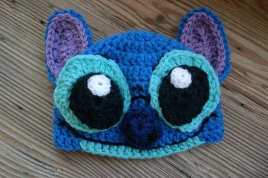 gorros tejidos de stitch ojos y nariz