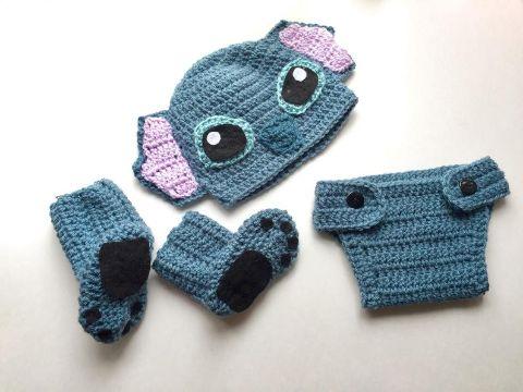 gorros tejidos de stitch zapatos y calzon