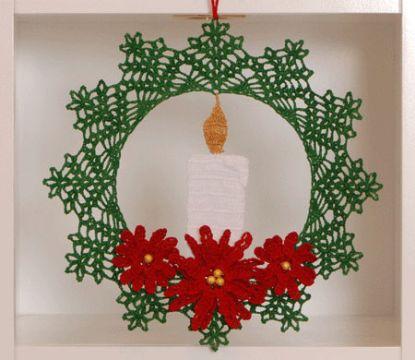 corona de navidad a crochet punto calado
