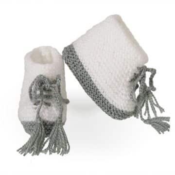 botitas de lana para bebe a dos colores