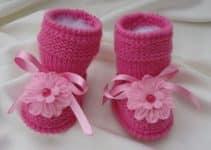 3 detalles para botitas tejidas para niña de 3 meses