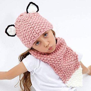 gorro con bufanda para niña con orejas