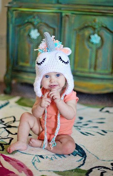 gorros tejidos de unicornio para niña cubreorejas