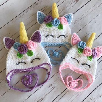 gorros tejidos de unicornio para niña diferentes tamaños