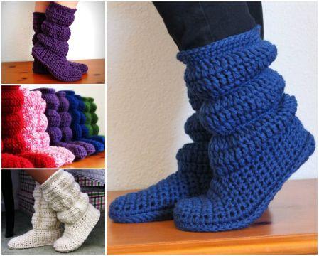 escarpines para adultos al crochet con pliegues
