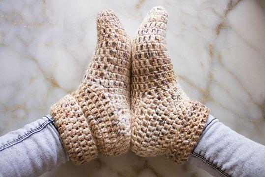 escarpines para adultos al crochet cortas