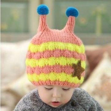 gorras tejidas para niña con antenas