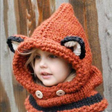 gorras tejidas para niña con bufanda y orejas