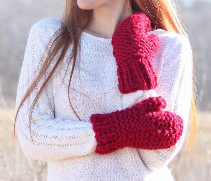 manoplas tejidas a dos agujas para invierno