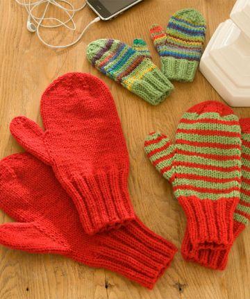 manoplas tejidas a dos agujas para niños