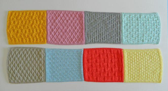 cuadros tejidos para colchas a colores