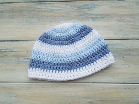 gorros a crochet para bebes a colores