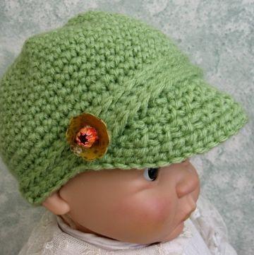 gorros a crochet para bebes con visera