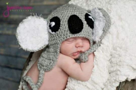 gorros a crochet para bebes de koala