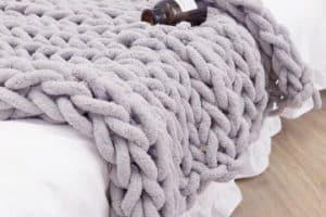 3 mantas de lana hechas a mano con estambre gigante