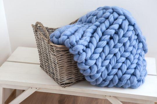 mantas de lana merino tejida con las manos