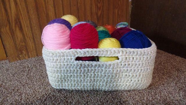 canastas a crochet patrones para organizar hilos