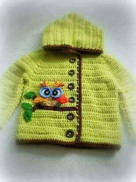 chompas a crochet para niñas con figuras tejidas