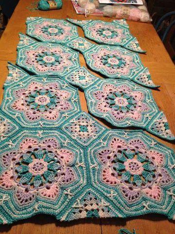 colchas a crochet paso a paso uniendo muestras
