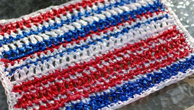 individuales rectangulares tejidos a crochet con rafia