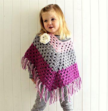 ponchos a crochet para niñas con flores
