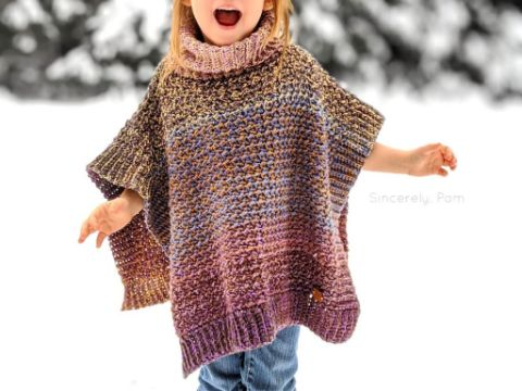 ponchos a crochet para niñas cuellos originales