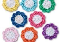 2 portavasos tejidos a crochet redondos uno de flor