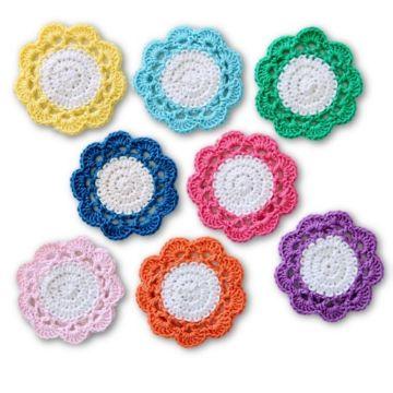 portavasos tejidos a crochet en forma de flor