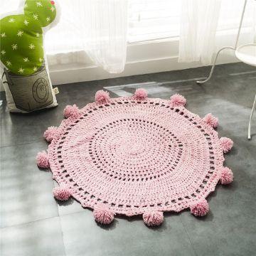 tapetes tejidos a crochet redondos bordes con pompones