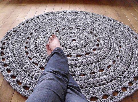 alfombras tejidas a crochet redondos tipo mandala