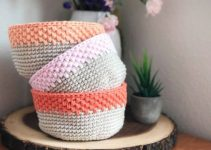 Coloridas canastas tejidas a crochet con ganchillo 10mm