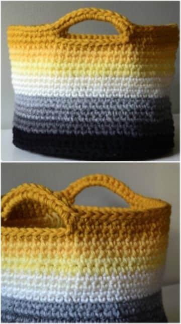 canastas tejidas a crochet con asas