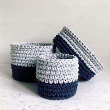 canastas tejidas a crochet funcionales