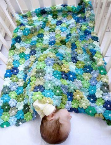 colchitas para bebe en crochet flores