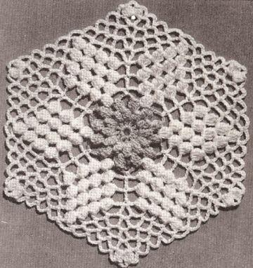 cuadros a crochet para cubrecama punto popcorn hexagonal