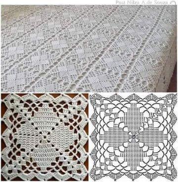 cuadros a crochet para cubrecama puntos calados