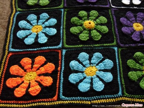 cuadros para colchas a crochet flores