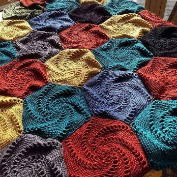 cuadros para colchas a crochet hexagonales originales