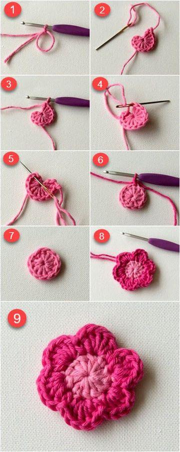 flores al crochet paso a paso en nueve fotos